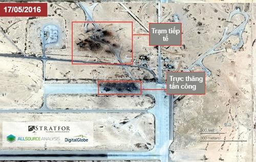 Ảnh vệ tinh được công ty tình báo công bố cho thấy thiệt hại của căn cứ T-4 sau khi bị IS tấn công. Ảnh: Stratfor.