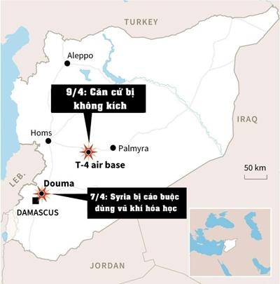 Vị trí của căn cứ T-4. Đồ họa: AFP.