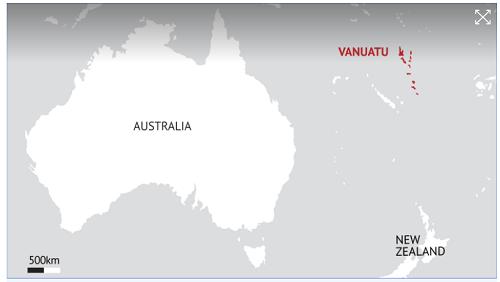 Vị trí Vanuatu. Đồ họa: SMH.