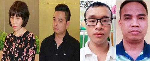 Các bị can từ trái quaChâu Nguyên Anh và Phạm Quang Minh, Lê Anh Tuấn vàNguyễn Đình Chiến.