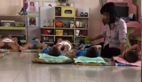 Cô giáo mầm non ở trung tâm Sài Gòn đánh trẻ trong giờ ngủ