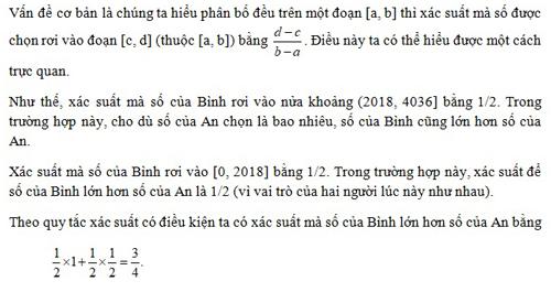 Đáp án câu đố xác suất trên tập hợp vô hạn