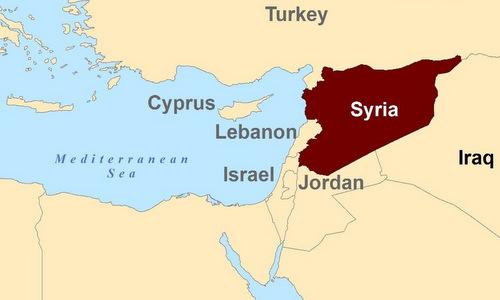 Địa Trung Hải trong tương quan với lãnh thổ Syria. Đồ họa: Steemit.