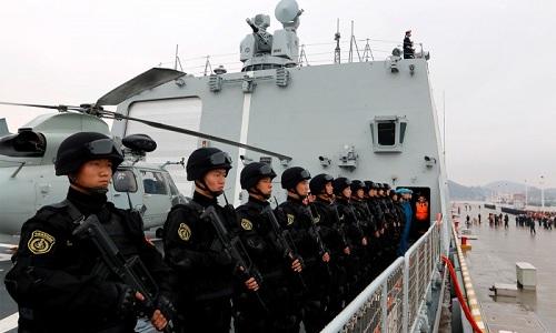 Binh sĩ Trung Quốc tại căn cứ nước ngoài đầu tiên của nước này ởDjibouti. Ảnh:Reuters.