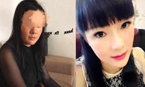 Vương Tam Thư (trái) khi không trang điểm và khi trang điểm (phải). Ảnh: News 163.