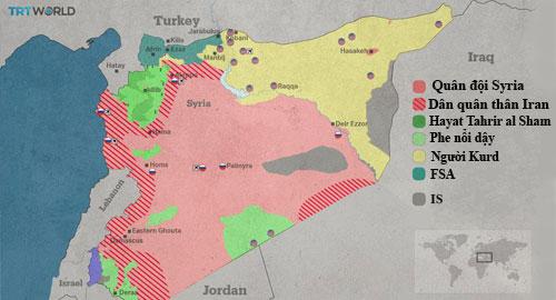 Các khu vực kiểm soát ở Syria tính đến ngày 4/4. Đồ họa: TRT World.