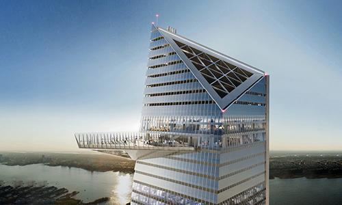 Đài quan sát cao 335 m nằm bên ngoài tòa nhà. Ảnh: Business Insider.