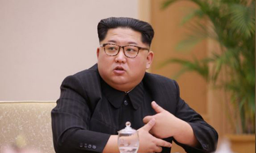 Ông Kim Jong-un chủ trì một cuộ gặp ở Bình Nhưỡng hôm 9/4. Ảnh: KCNA.