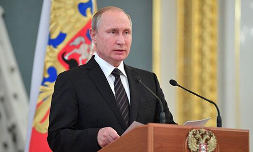 Tổng thống Nga Vladimir Putin phát biểu tại lễ đón các đại sứ mới được bổ nhiệm. Ảnh:Sputnik.