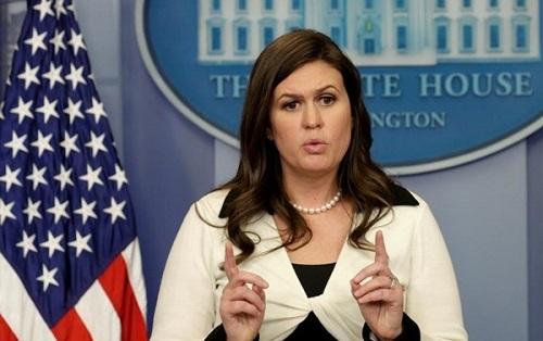 Phát ngôn viên Nhà Trắng Sarah Sanders. Ảnh:Reuters.