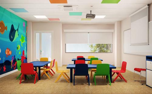 Nội thất VUS Kids Trần Não được thiết kế phù hợp lứa tuổi giúp các emhào hứng khi đến trường.