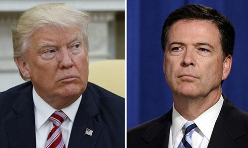 Tổng thống Mỹ Trump, trái, và cựu giám đốc FBI Comey. Ảnh: AP.
