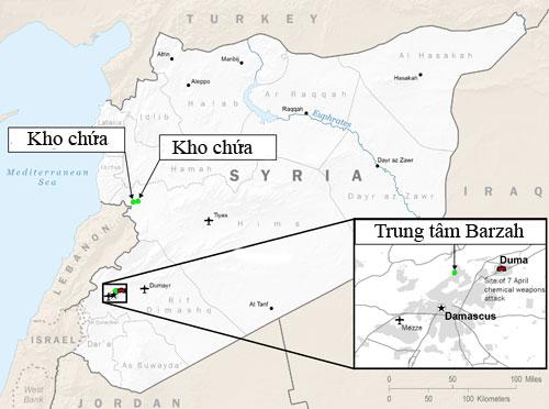 Ba mục tiêu ở Syria bị tên lửa Mỹ và đồng minh tấn công. Đồ họa: BQP Mỹ.
