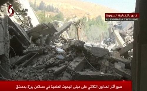 Phòng thí nghiệm ở Barzeh tan hoang sau cuộc không kích sáng nay. Ảnh: AP.