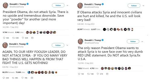 Những chỉ trích của ông Trump viết năm 2013 khi Mỹ định tấn công Syria. Ảnh: Xinhua.