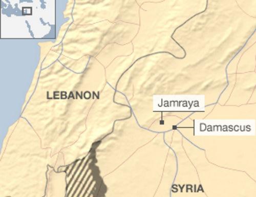 Trung tâm khoa học Jamraya ở gần thủ đô Damascus. Đồ họa: BBC.