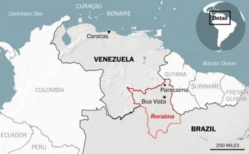 Biên giới giữa Brazil và Venezuela. Đồ họa: Washington Post.