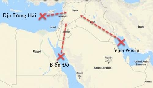 Những Äá»a Äiá»m Má»¹ và Äá»ng minh phóng tên lá»a vào Syria. Äá» há»a: WP.