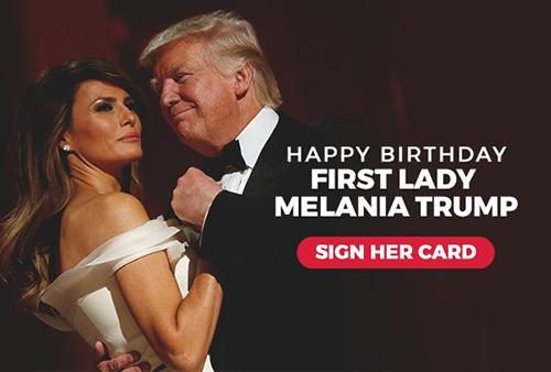 Bức ảnh được ông Trump đính kèm trong email chúc mừng sinh nhật vợvà kêu gọi mọi người ký tên chúc mừng sinh nhật bà Melania.Ảnh:Twitter