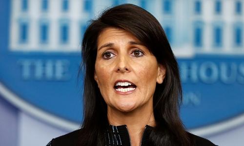 Đại sứ Mỹ tại Liên Hợp Quốc Nikki Haley phát biểu tại Nhà Trắng tháng 9/2017. Ảnh: AP.