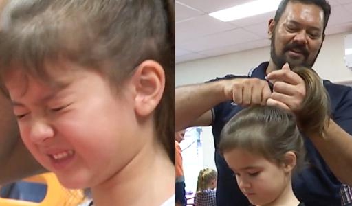 Những ông bố Australia học lớp tạo kiểu tóc cho con gái