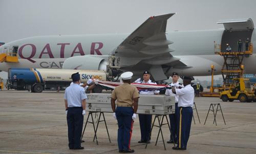 Lễ hồi hương hài cốt lính Mỹ tại Hà Nội tháng 12 năm ngoái. Ảnh: Đại sứ quán Mỹ tại Việt Nam.