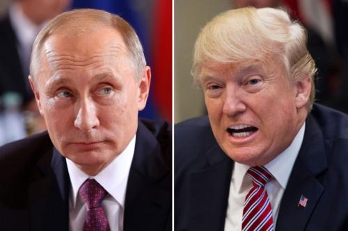 Tổng thống Nga Vladimir Putin và người đồng cấp Mỹ Donald Trump. Ảnh: AP.