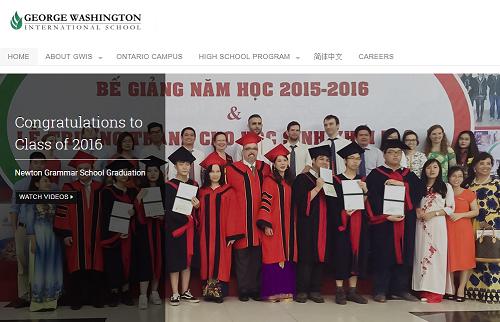 Website của trường GWIS chỉ có một số hình ảnh, video về học sinh Việt Nam, không có hình ảnh hoạt động dạy và học ở Mỹ.