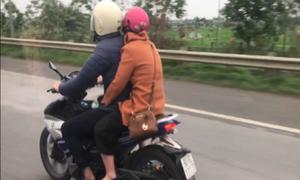 Tôi suýt tông đôi nam nữ chạy xe máy trên cao tốc