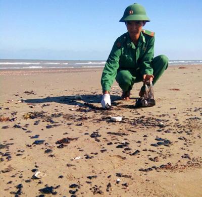 Dầu vón cục trải dài 9 km bờ biển Bến Tre