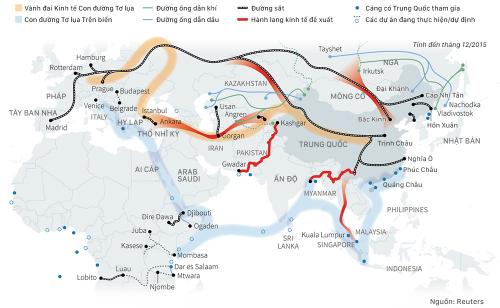 Sáng kiến Vành đai và Con đường của Trung Quốc. Đồ họa: Việt Chung. (Nhấn vào hình để xem cỡ lớn)