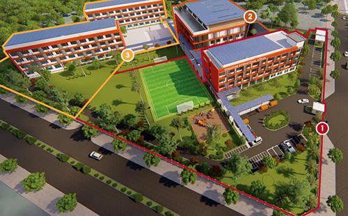Mô hìnhTrường quốc tế Singapore tại Cần Thơ. Ảnh: Nhà trường cung cấp