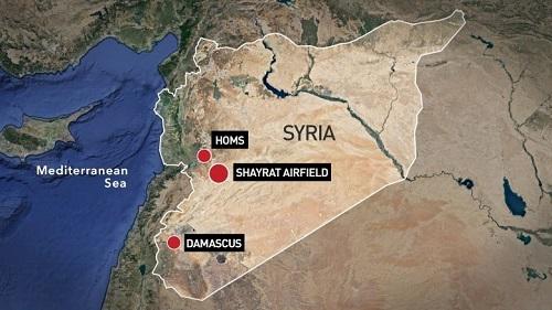 Vị trí căn cứ không quânShayrat. Đồ họa: Yahoo News.