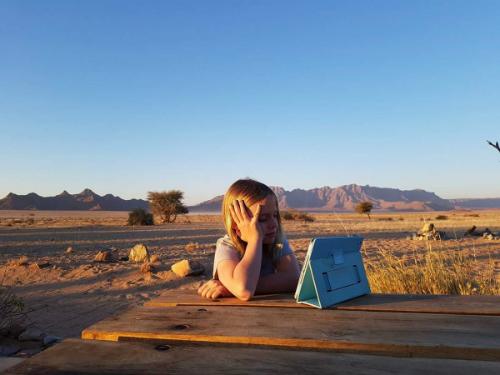 Khung cảnh hoang sơ ở Namibia (châuPhi) không hấp dẫn cô bé Anh bằng máy tính bảng. Ảnh: Twitter