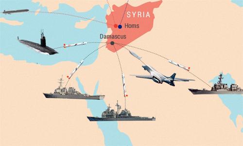 Các mũi tấn công của liên quân Mỹ trong đòn không kích Syria. Đồ họa: Tiến Thành. (Click vào hình để xem chi tiết)