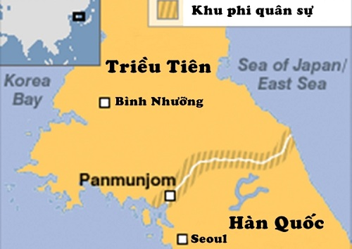 Vị trí làng Panmunjom. Đồ họa: BBC.