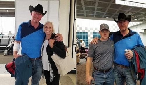 Chàng cao bồi McGinty chụp ảnh cùng nữ y tá đã nghỉ hưu Phillips và lính cứu hỏa Needum, những người đã cùng cứu giúp nạn nhân bị hút khỏi máy bay, chụp ảnh lưu niệm sau khi phi cơ hạ cánh an toàn. Ảnh: Facebook.