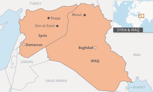 Iraq có chung đường biên giới trên bộ dài với Syria. Đồ họa: RFE.