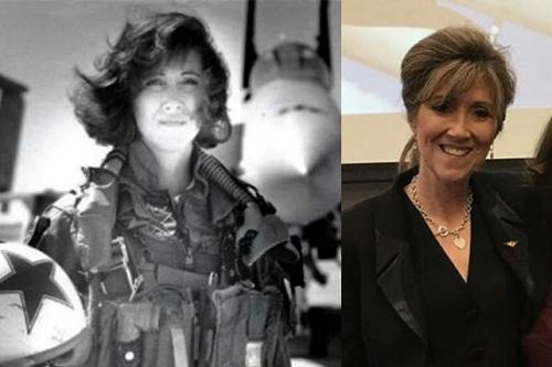 Nữ phi công Tammie Jo Shults khi còn trong Hải quân (trái) và hiện là cơ trưởng hãng Southwest Airlines. Ảnh: Time.