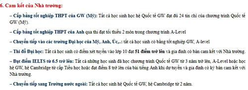 Những hứa hẹn về quyền lợi của học sinh khi học chương trình liên kết với GWIS đăng trên website của trường Tiểu học - THCS - THPT Newton (Hà Nội), nay đã bị xóa. Ảnh chụp màn hình.