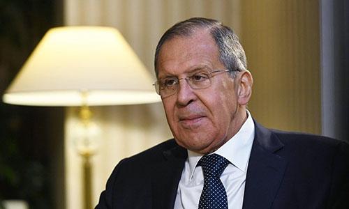 Ngoại trưởng Nga Sergey Lavrov trả lời phỏng vấn kênh truyền hình nhà nước Nga. Ảnh: Sputnik.