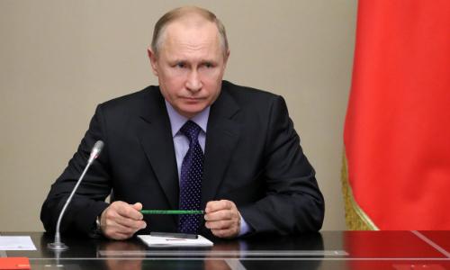 Tổng thống Nga Putin trong cuộc họp an ninh ở ngoại ôMoscow ngày 19/4. Ảnh: AFP.