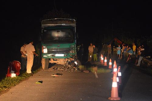 Hiện trường vụ tai nạn khiến bốn nam sinh tử vong. Ảnh: Công an huyện Đăkrông