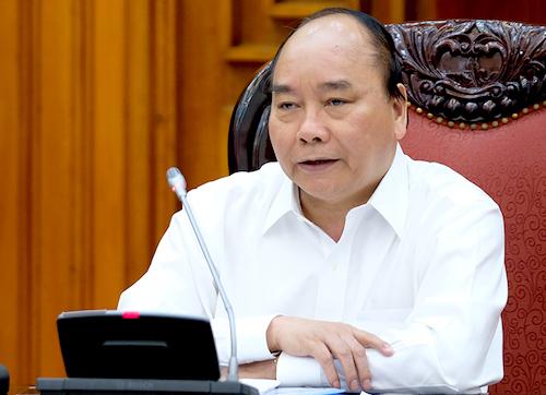 Thủ tướng Nguyễn Xuân Phúc chủ trì cuộc họp Thường trực Chính phủ với các bộ, ngành chiều 23/4. Ảnh: VGP