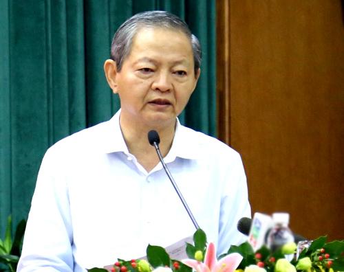 Ông Lê Văn Khoa phát biểu trước khi từ nhiệm. Ảnh: Trung Sơn.