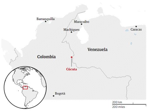 Khu vực người Yukpa đang dựng trại ở thành phố biên giới Cúcuta của Colombia. Đồ họa: Guardian.