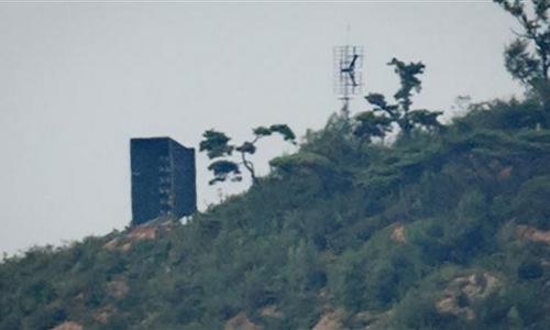 Một hệ thống loa phóng thanh của Triều Tiên tại biên giới. Ảnh: AFP.