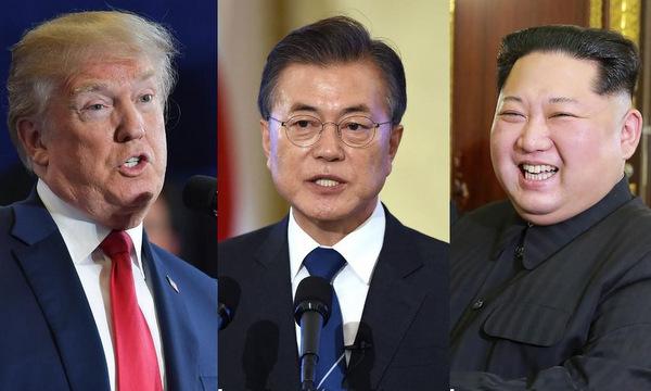 Tổng thống Mỹ, Tổng thống Hàn Quốc và lãnh đạo Triều Tiên. Ảnh: CNN.