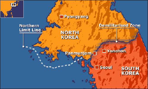 Đường biên giới giữa Triều Tiên và Hàn Quốc sau khi ký hiệp định đình chiến. Ảnh: BBC.