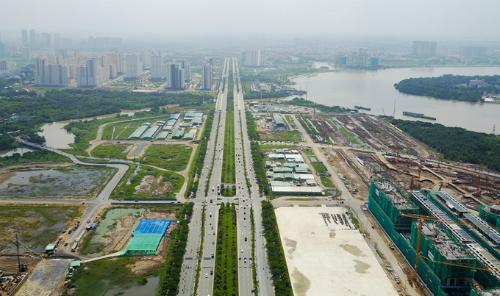 Hình hài khu đô thị Thủ Thiêm sau hơn 20 năm được quy hoạch. Ảnh: Quỳnh Trần